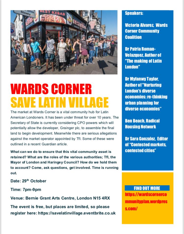 Save Latin Village & Wards Corner – EVENT 29th Oct 2018