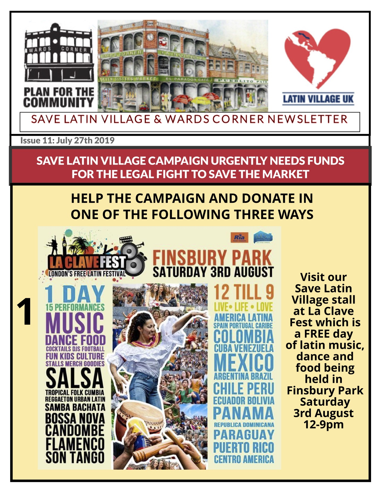 Save Latin Village at La Clave Fest in Finsbury Park 3 Aug 2019